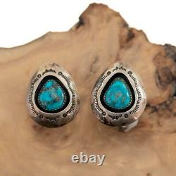 Native American CUFFLINKS Turquoise Sterling Silver OLD PAWN Vintage Mens