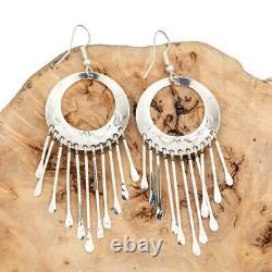 Native American Earrings SILVER PUEBLO Navajo Sterling Vintage Long Dangle