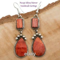 Native American Earrings Sterling Silver Southwest SUNSET Red Spiny Oyster