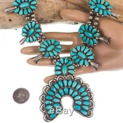 Native American Jewelry Lot Turquoise Sterling Silver Squash Blossom Necklace A+