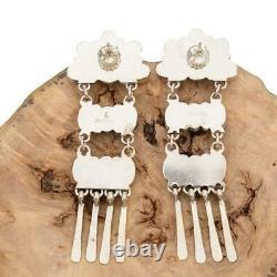 Native American SANTA FE SUNRISE Earrings Spiny Oyster Sterling Silver Dangles