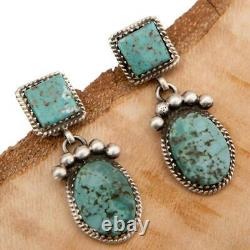 Native American TURQUOISE Earrings Sterling Silver Dangles Vintage Old Style. G