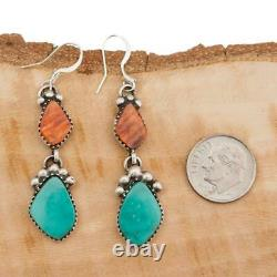 Native American TURQUOISE Earrings Sterling Silver Orange Spiny Oyster Dangles