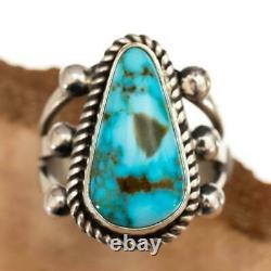 Native American TURQUOISE RING SpideWebbed Kingman Sterling Silver ALBERT JAKE 7