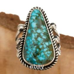Native American TURQUOISE RING SpideWebbed Kingman Sterling Silver ALBERT JAKE 9