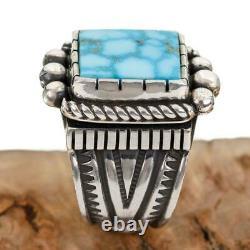 Native American TURQUOISE RING Sterling Silver Waterweb KINGMAN ALBERT JAKE 7