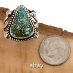 Native American TURQUOISE RING Webbed Kingman Sterling Silver ALBERT JAKE 7