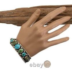 Native American Turquoise Bracelet SONORAN GOLD Sterling Silver ALBERT JAKE MENS