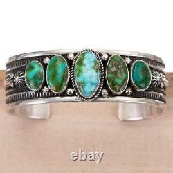 Native American Turquoise Bracelet SONORAN GOLD Sterling Silver ALBERT JAKE MENS