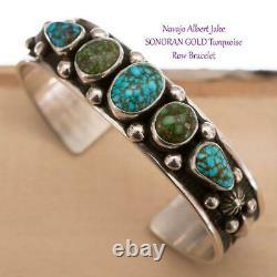 Native American Turquoise Bracelet SONORAN GOLD Sterling Silver ALBERT JAKE Row