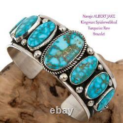 Native American Turquoise Bracelet Sterling Silver Natural KINGMAN ALBERT JAKE