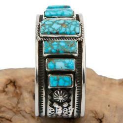 Native American Turquoise Bracelet Sterling Silver Natural KINGMAN ALBERT JAKE S
