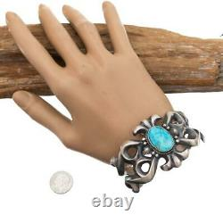 Native American Turquoise Bracelet Sterling Silver SANDCAST Harrison Bitsue A+