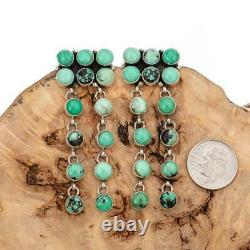 Native American Turquoise Earrings CARICO LAKE Sterling Silver LONG Dangles
