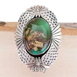 Native American Turquoise RING Sterling Silver PILOT MT Big Vintage sz 7 HUGE