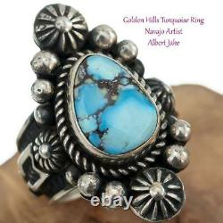 Native American Turquoise Ring GOLDEN HILLS Sterling Silver ALBERT JAKE 7 ARROWS