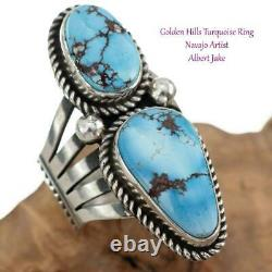 Native American Turquoise Ring GOLDEN HILLS Sterling Silver ALBERT JAKE 8.75