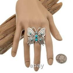 Native American Turquoise Ring Sterling Silver BUTTERFLY Vintage Style sz 10