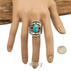 Native American Turquoise Ring Sterling Silver DERRICK GORDON 11 Mens Indian Mt