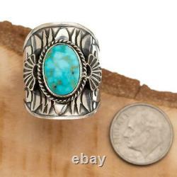 Native American Turquoise Ring Sterling Silver DERRICK GORDON 8 Kingman Web