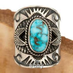 Native American Turquoise Ring Sterling Silver DERRICK GORDON Kingman Spiderweb