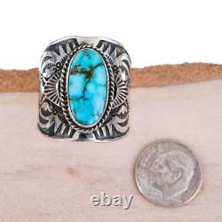 Native American Turquoise Ring Sterling Silver Natural DERRICK GORDON 12 MENS