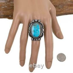 Native American Turquoise Ring Sterling Silver Natural Spiderweb Kingman 8.75