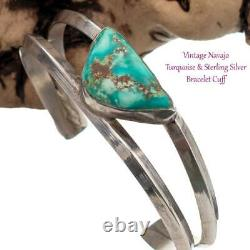 Native American Turquoise Sterling Silver Bracelet Cuff Triangle OLD PAWN STONE