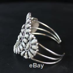 Native American white CLUSTER vintage Navajo Cuff Bracelet sterling silver. 925