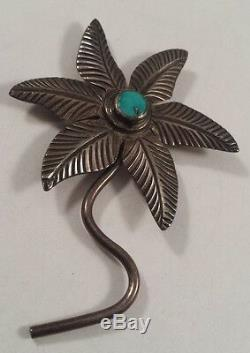 Native Indian Sterling Silver Turquoise Flower Pin Brooch