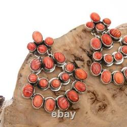 Nativer American Earrings Sterling Silver Red Spiny Oyster Long Dangles NAKAI