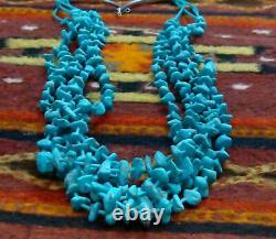Navajo 5 Strand Kingman Turquoise Vintage Necklace, Native American Jewelry