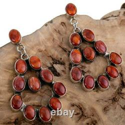 Navajo Earrings Sterling Silver Red Spiny Oyster JENNIFER BEGAY Clusters Dangles