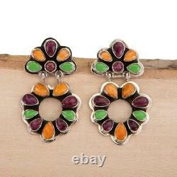 Navajo Earrings Sterling Silver TAOS RAINBOW Purple Spiny Dangles Emma Lincoln
