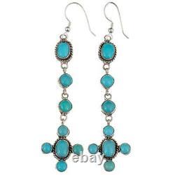 Navajo Earrings TURQUOISE Sterling Silver Long Chandelier Dangles Blue Cross