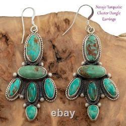 Navajo Earrings TURQUOISE Sterling Silver Long Chandelier Dangles C. Wylie