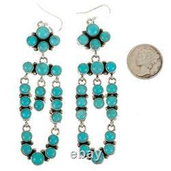 Navajo Earrings TURQUOISE Sterling Silver Long Chandelier Dangles Pueblo Dancer