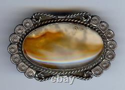 Navajo Indian Vintage Sterling Silver Agate Pin Brooch