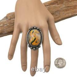 Navajo Ring Sterling Silver AARON TOADLENA Bumble Bee Jasper BIG BOY Huge 8