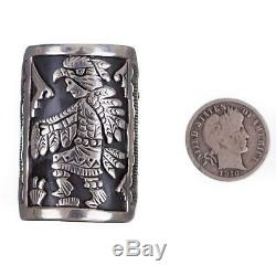 Navajo Ring Sterling Silver Kachina Eagle Dancer Fred Charley 10 MENS HEAVY