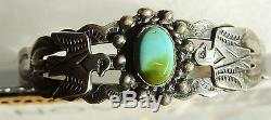 Navajo Silver Products Turquoise Thunderbird Bracelet Coin Silver