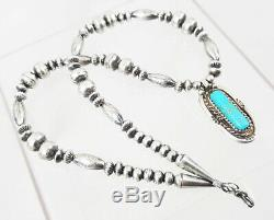 Navajo Stamped Sterling Beads Turquoise VTG Pendant 15.5 Choker Necklace WOW