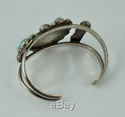 Navajo Sterling Native American Turquoise Old Dead Pawn Cuff Bracelet Vintage