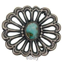 Navajo Turquoise Belt Buckle Sterling Silver SANDCAST Harrison Bitsue Sunburst