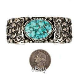 Navajo Turquoise Bracelet Cuff Natural KINGMAN Sterling Silver DARRYL BECENTI