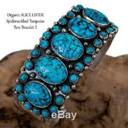 Navajo Turquoise Bracelet Sterling Silver ALICE LISTER Natural Old Pawn Cluster