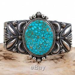 Navajo Turquoise Bracelet Sterling Silver DERRICK GORDON Kingman Spiderweb A++