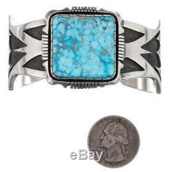Navajo Turquoise Bracelet Sterling Silver Gem KINGMAN WATERWEB MENS CUFF Large