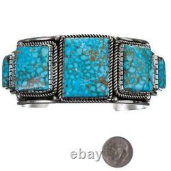 Navajo Turquoise Bracelet Sterling Silver Navajo ALBERT JAKE Natural MENS HEAVY