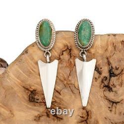 Navajo Turquoise Earrings Natural Arrow Sterling Silver Vintage Dangle Vintage